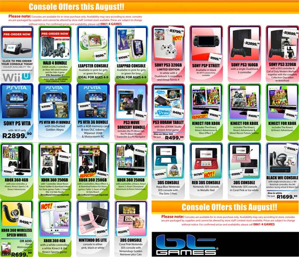 BT Games Console Deals August 2012